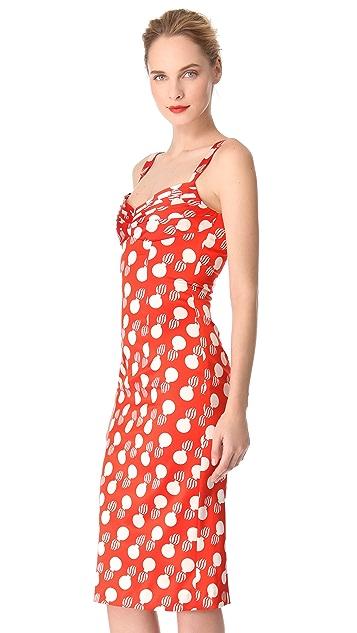 L'Wren Scott Bomb Print Bust Pleat Dress