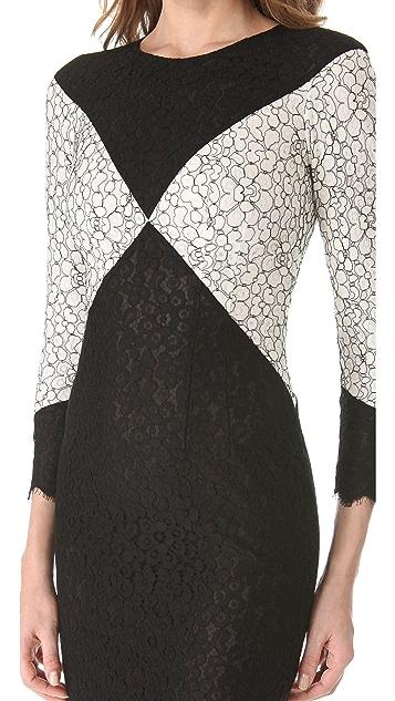 L'Wren Scott Black & White Diamond Dress