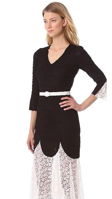 L'Wren Scott 3/4 Sleeve Lace Dress