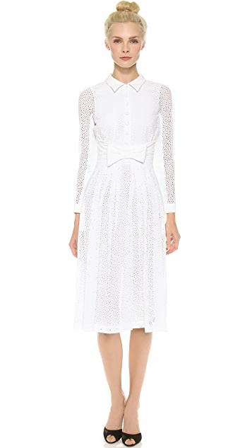 L'Wren Scott Long Sleeve Eyelet Dress