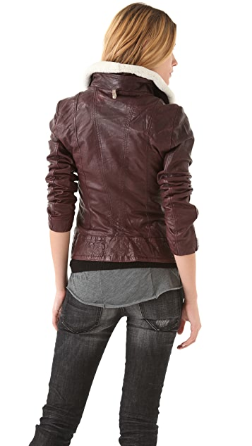 Mackage Leather & Shearling Moto Jacket