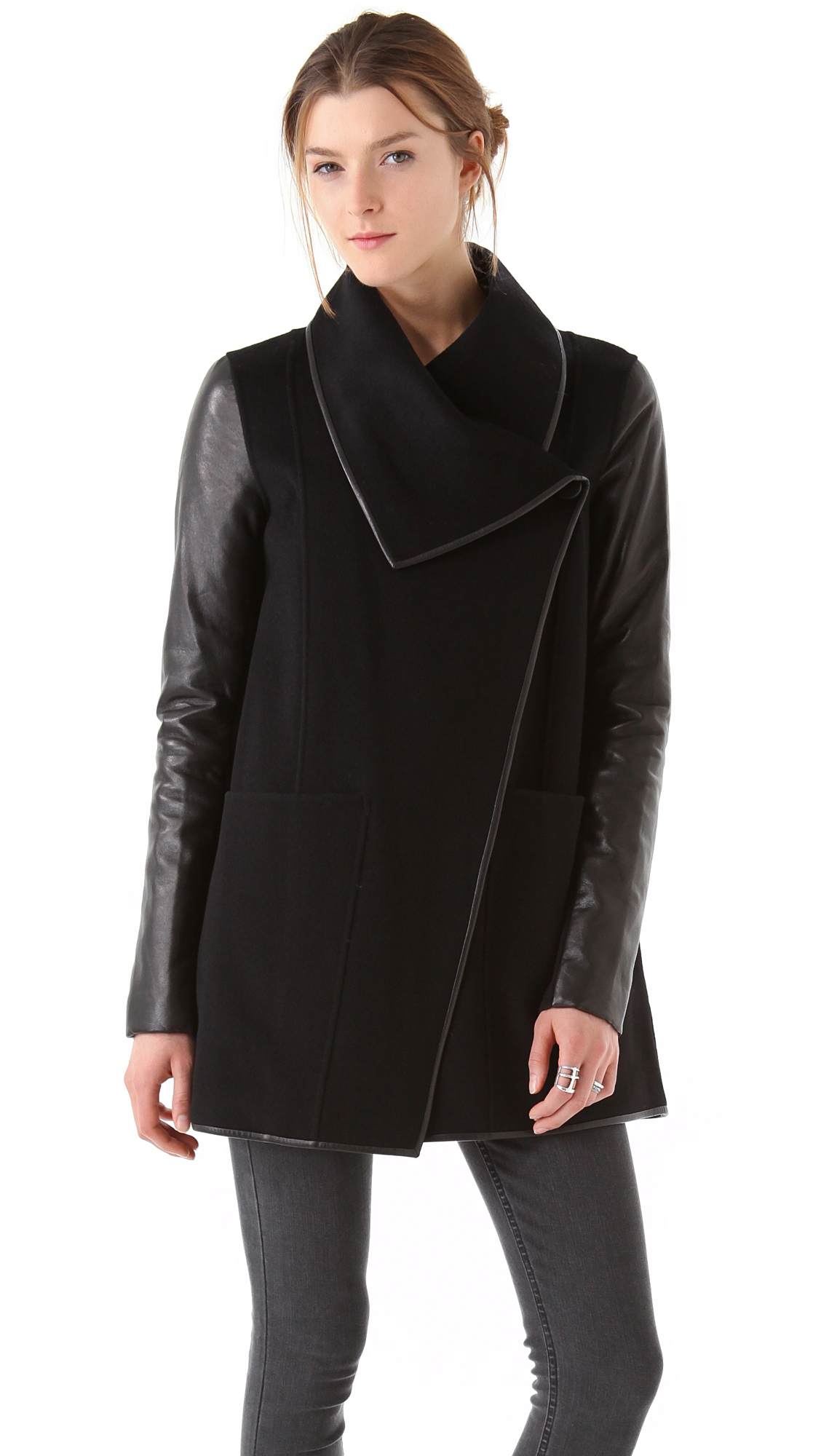Mackage Wool Coat with Leather Sleeves | SHOPBOP