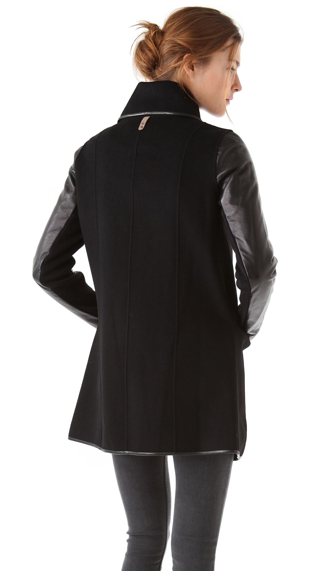 f44458baa4c Mackage Wool Coat with Leather Sleeves