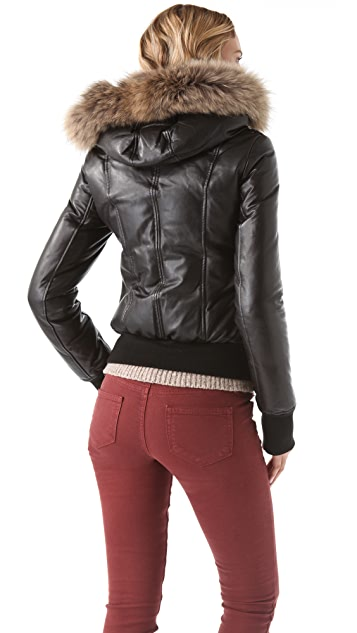 Mackage Leather Puffer Coat with Fur Trim