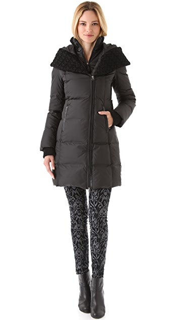 Mackage Long Puffer Coat with Big Sweater Collar