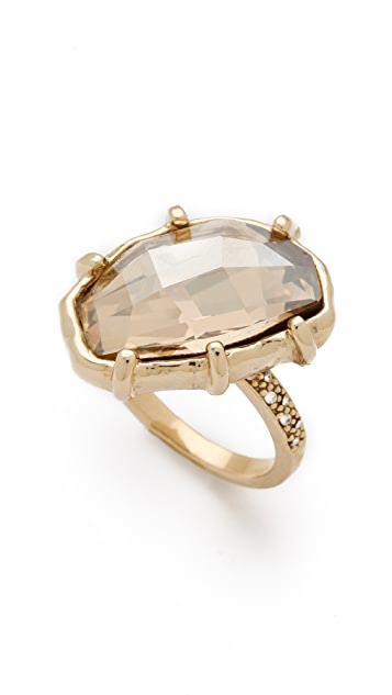 Made Her Think Pave Angle Faceted Dame Ring