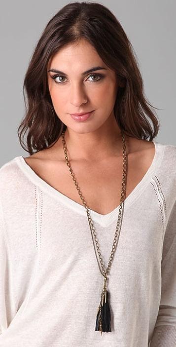 Madewell Leather Tassel Spike Necklace