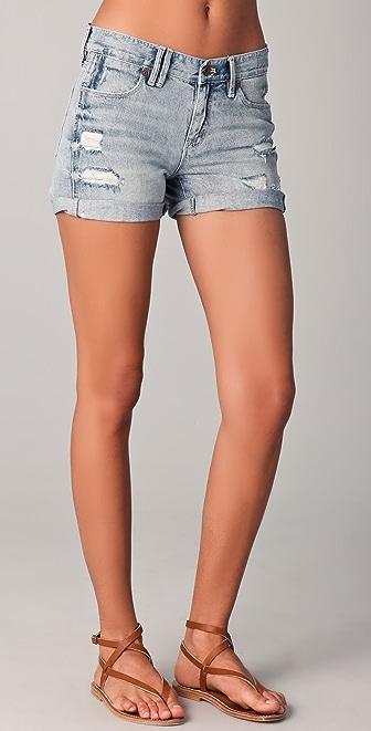 Madewell Destroyed Denim Midi Shorts