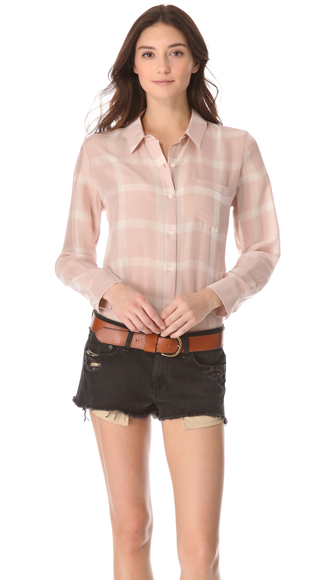 44ee0cb7e86cac Madewell Silk Plaid Boy Shirt