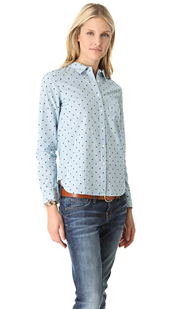 Madewell Heidi Stripe Dot Shrunken Boy Shirt