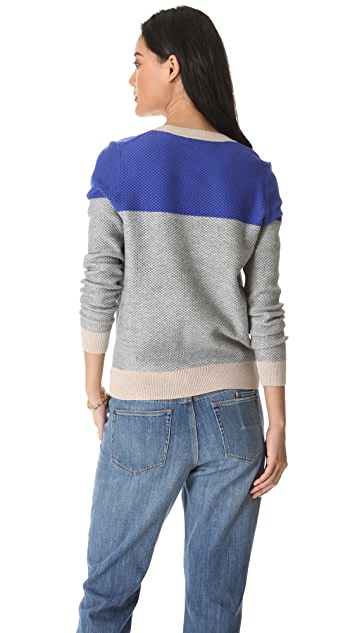 Madewell Basket Weave Colorblock Pullover