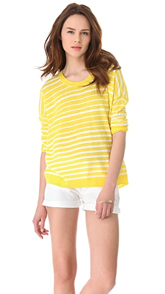 Madewell Striped Pipa Pointelle Pullover