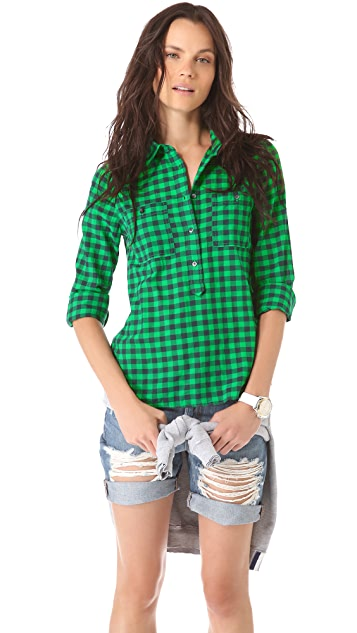 Madewell Plaid Market Popover Top