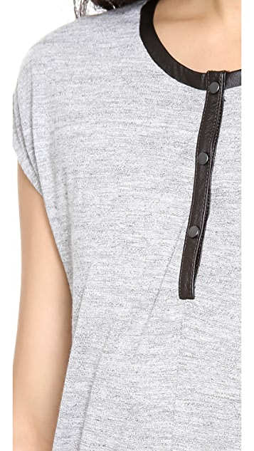 Madewell Leather Trimmed Henley Top