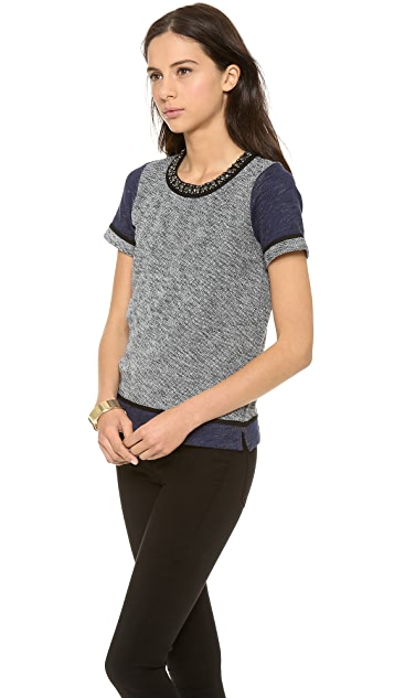 Madewell Colorblock Embellish Neck Sweatshirt Tee