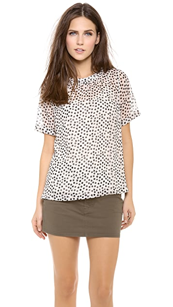 Madewell Textured Shirred Dot Top