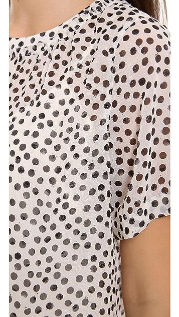 Madewell Textured Shirred Dot Top