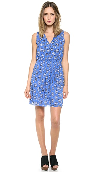 Madewell Silk Pleated Minidress in Floral Woodcut