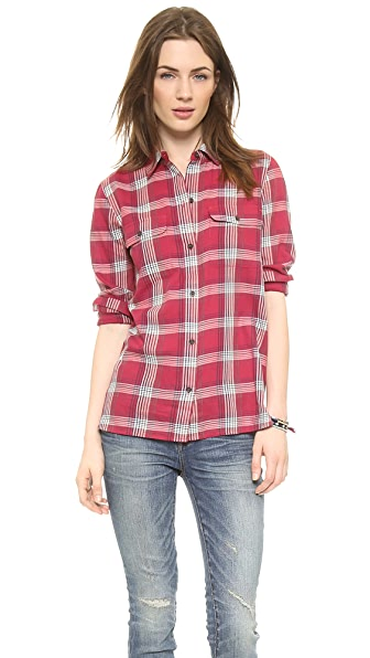 Madewell Red Plaid Ex BF Buttondown