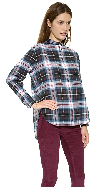 Madewell Plaid Collarless Popover