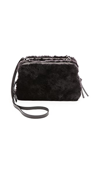 Madewell Shearling Twin Pouch Cross Body Bag