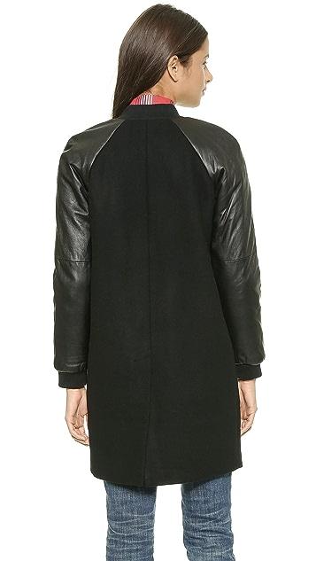 Madewell Leather Sleeve Varsity Bomber Wool Coat