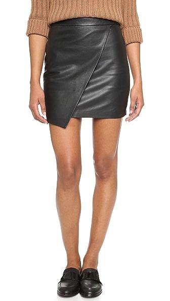 madewell leather overlap skirt shopbop
