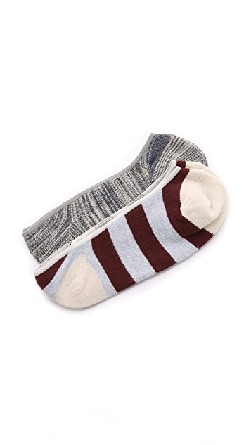 Madewell Rugby Stripe No Show Sock Set