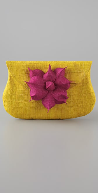 Mar Y Sol Gigi Raffia Flower Clutch