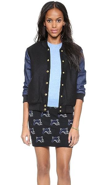 Maison Kitsune Teddy Varsity Jacket