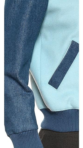 Maison Kitsune Bicolor Teddy Varsity Jacket