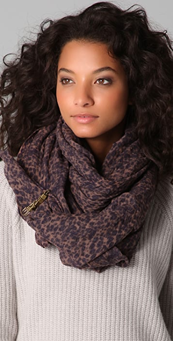 Scotch & Soda/Maison Scotch Cheetah Print Scarf with Pin