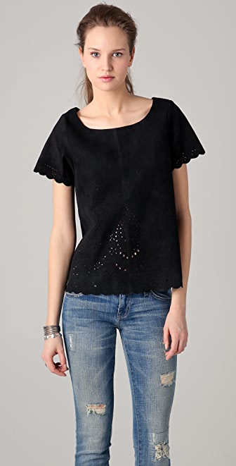 Scotch & Soda/Maison Scotch Laser Cutout Suede Top