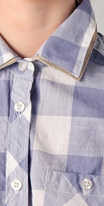 Scotch & Soda/Maison Scotch Checkered Shirt with Leather Bows