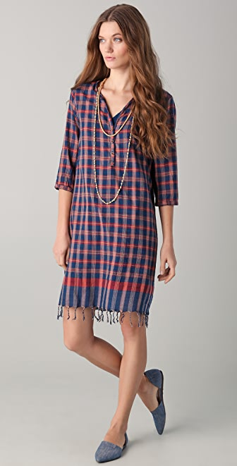 Scotch & Soda/Maison Scotch Plaid Dress with Necklace