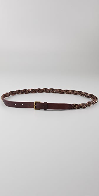 Maison Scotch Braided Studs Leather Belt
