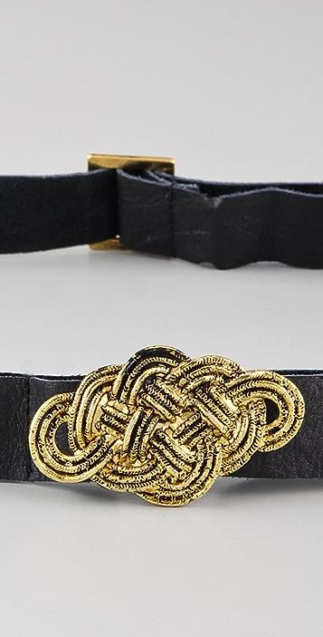 Scotch & Soda/Maison Scotch Twisted Metal Buckle Leather Belt