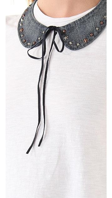 Scotch & Soda/Maison Scotch Short Sleeve Tee with Detachable Chambray Collar