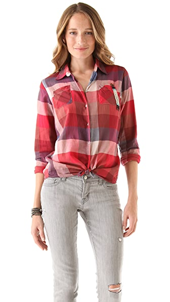 Maison Scotch Shirt with Front Knot