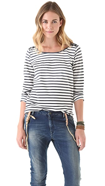 Scotch & Soda/Maison Scotch Stripe Crew Neck Shirt