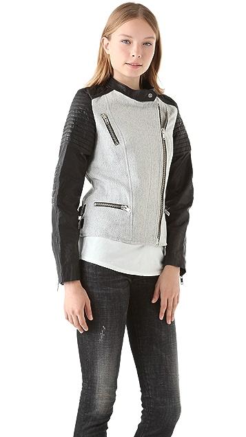 Scotch & Soda/Maison Scotch Tweed & Leather Jacket