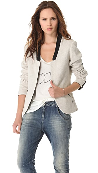 Maison Scotch Blazer with Leather Star Patch