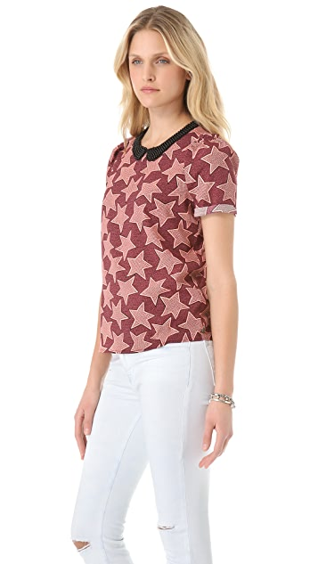 Scotch & Soda/Maison Scotch Print Silky Blouse with Contrast Collar