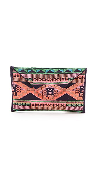 Maison Scotch Ikat Embroidered Summer Clutch