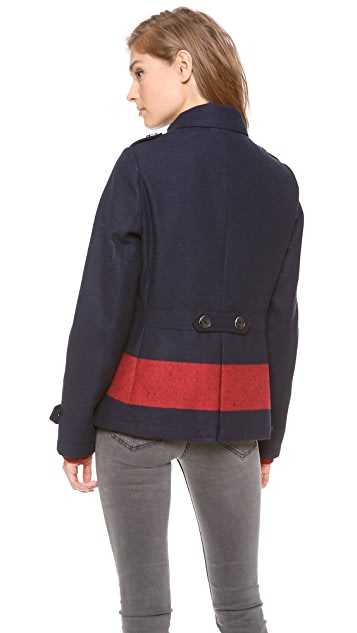 Scotch & Soda/Maison Scotch Colorblock Stripe Pea Coat