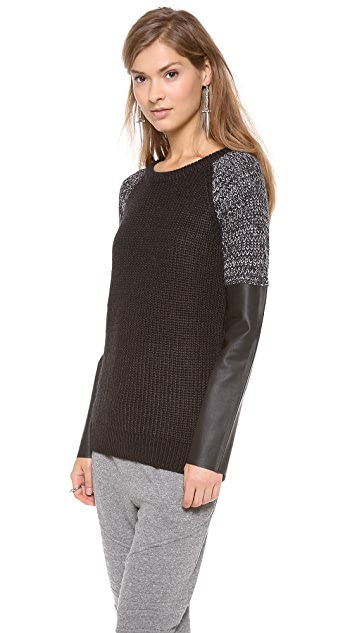 Scotch & Soda/Maison Scotch Sweater with Faux Leather Sleeves
