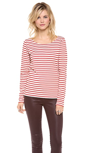 Maison Scotch Stripe Top with Biker Zip Detail