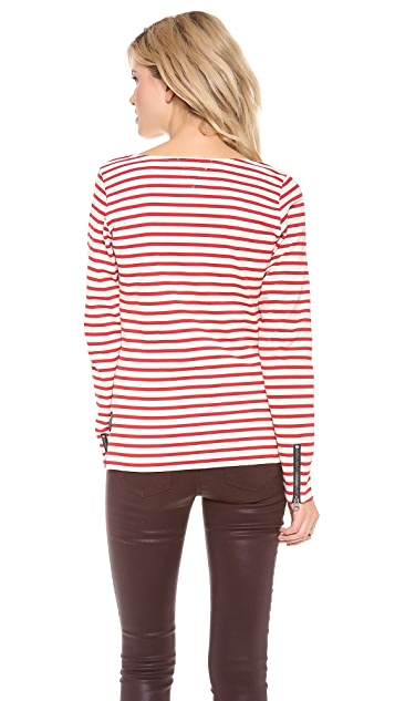 Scotch & Soda/Maison Scotch Stripe Top with Biker Zip Detail