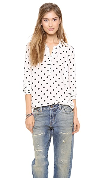 Maison Scotch Chic Long Sleeve Blouse with Star Brooch