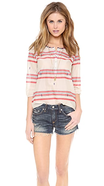 Scotch & Soda/Maison Scotch Summer Tunic with Beaded Neckline